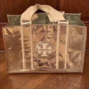 Tory Burch Silver Mirror Metallic Ella Tote Bag